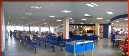 connaught (connacht) airport departure lounge with shopping and catering facilities